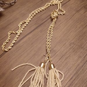 Baublebar gold knotted twin tassel necklace